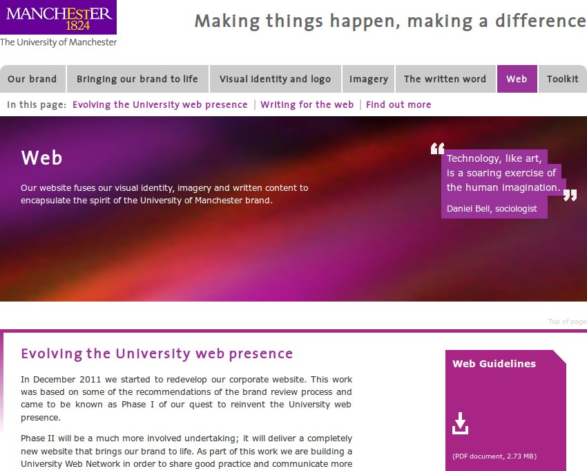 Screenshot of the University's branding website
